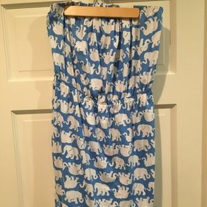 Blue/White Lily Pulitzer Elephant Strapless Dress